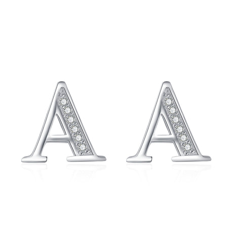 Small Letter Stud Cubic Zirconia Earrings Design, Real 925 Silver Earrings