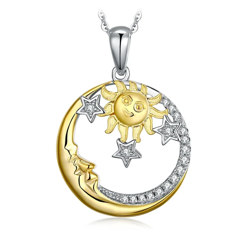 Moon Sun Silver Pendant Necklace
