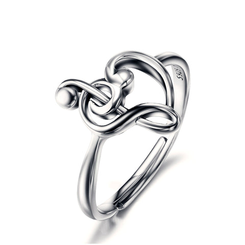 Genuine Silver Jewelry Fashion Celtic Notes Heart Ring For Men