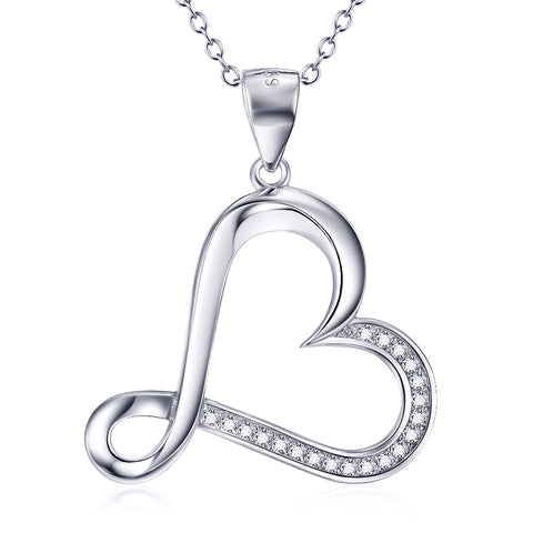 Loving Heart Shaped Necklace Fashion 925 Sterling Silver Jewelry For Woman