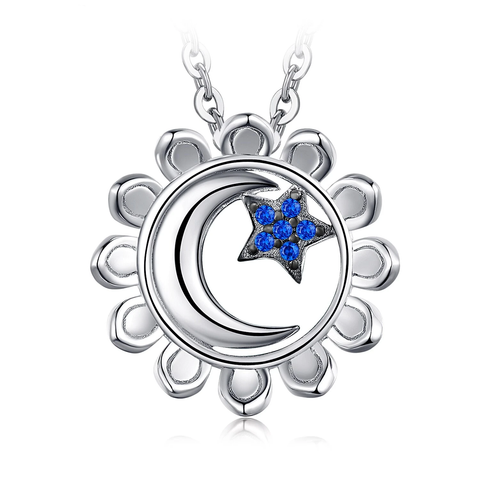 Moon Star Sun Created Blue Spinel Nacklace