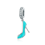 Silver Enamel Blue High heels dangles Charm