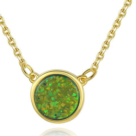 Created Round Opal Gold Plated  Necklace for Women