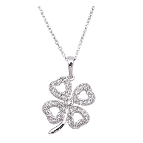 lucky four-leaf clover cubic zirconia Pendant