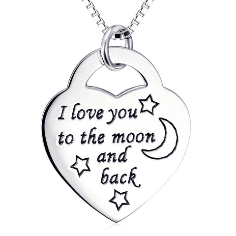 I Love You ToThe Moon And  Back Necklace Customed 925 Sterling Silver Necklace For Girlfriend