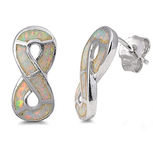 Silver Opal Infinity Stud Earrings