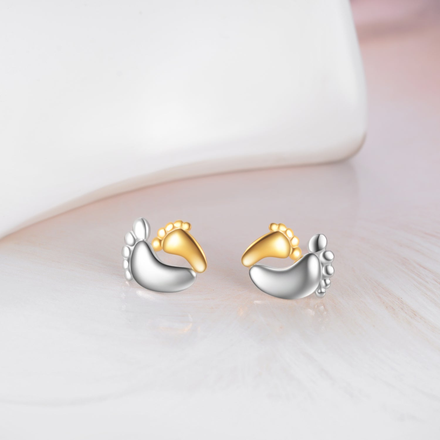 Mother And Baby Feet Shape Earrings Design Real Silver Mom Love Earrings