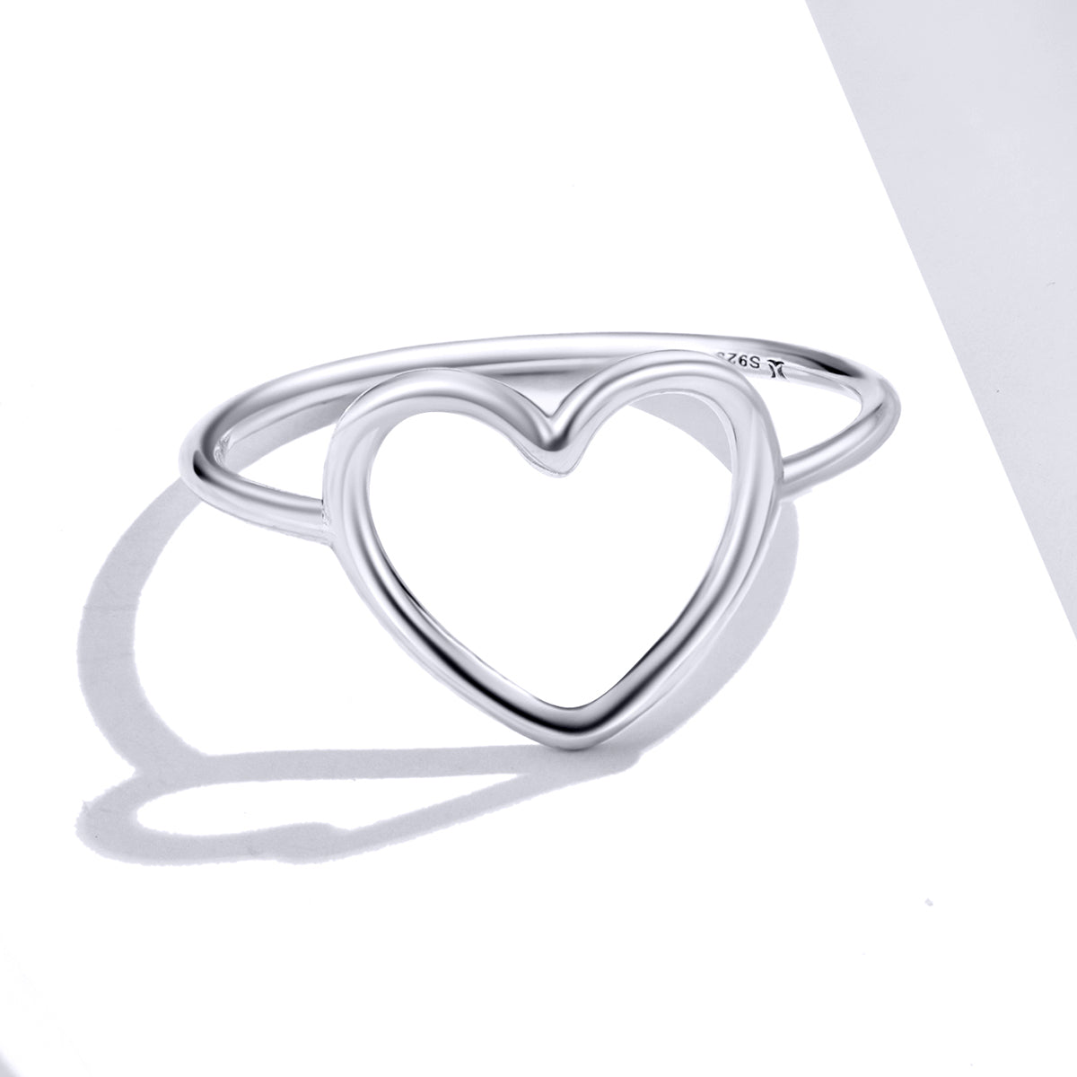 S925 Sterling Silver Vintage Oxidized Ring Heart Shaped Ring