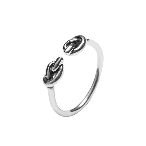 925 Sterling Silver Jewelry Fashion Wild Heart Knot Ring Female Hipster Knot Opening