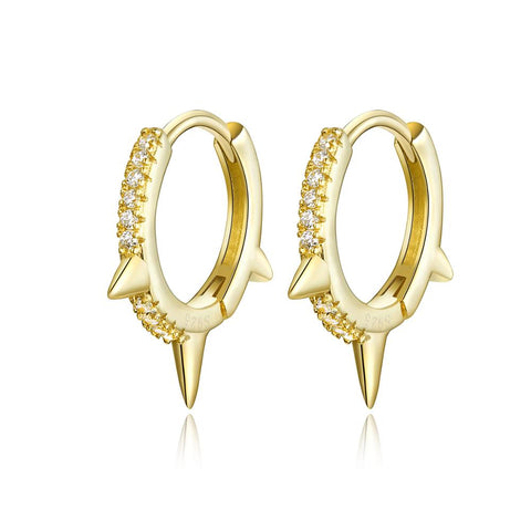 925 Sterling Silver Hoop Earrings with Cubic Zirconia Gold Plated Hypoallergenic Earrings