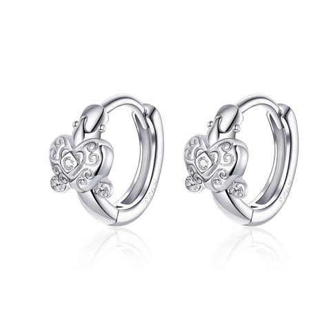925 Sterling Silver Sparkly Star Small Hoop Earrings for Women