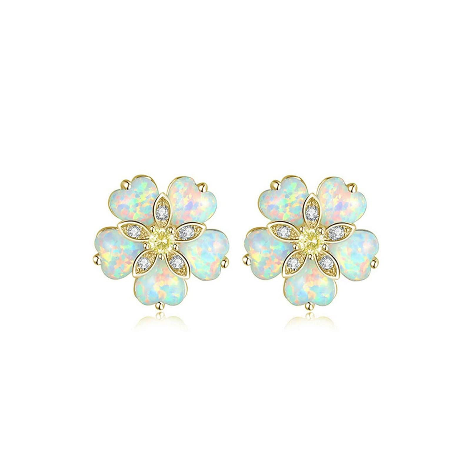 Flower Opal Earrings Stud,Gold Plated or Rhodium Plated Hypoallergenic Earrings for Women Opal Jewelry Gemstone Stud Earrings 12mm-15mm