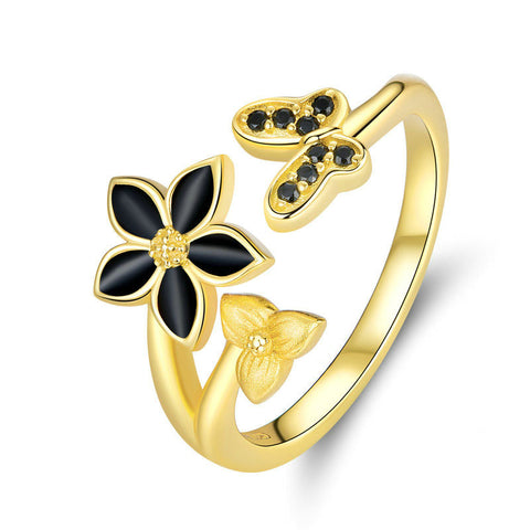925 Sterling Silver Black Enamel Flower and Butterfly Open Finger Ring Women Gold Color Plated Engagement Jewelry