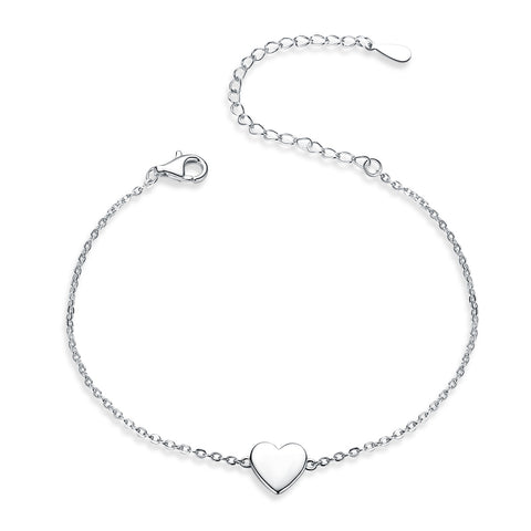Silver White Gold Plated Simple Heart Bracelet
