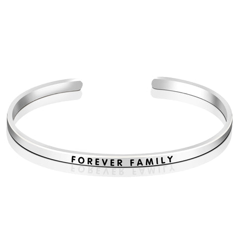 Message Engraved Bangle Opening Forever Family Silver Bangle