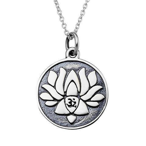Lotus necklace round disc silver high quality jewelry s