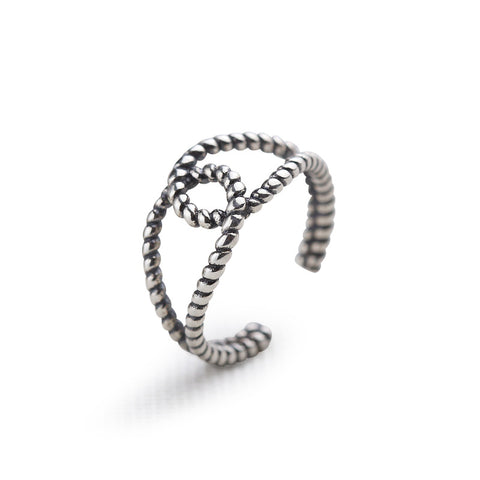 925 Sterling Silver Retro Thai Silver Old Worn Ring Personality Twist Twist Ring