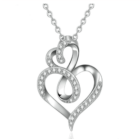 Classic Double Heart Crystal Pendant Necklace