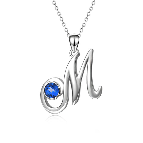 Handmade Jewelry Silver Letter M Engraved Necklace With AAA Zirconia