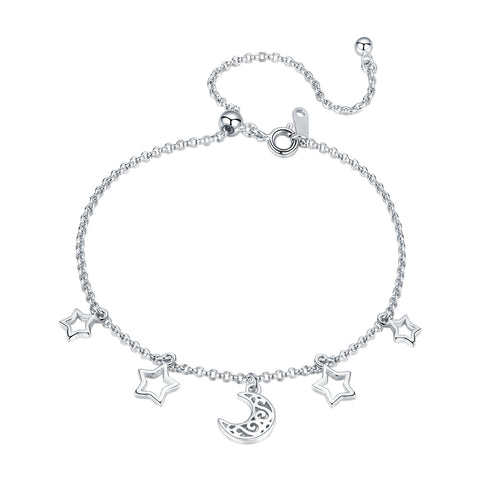 silver white gold plated star&moon bracelet