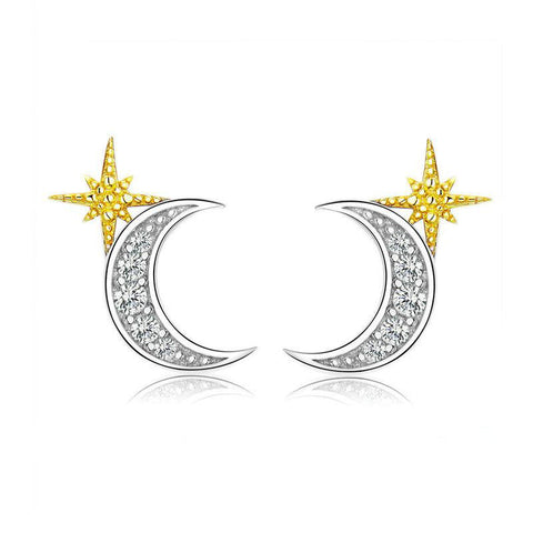 Moon and Stars Stud Earrings