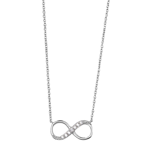 Infinity clear cubic zirconia pendant necklace