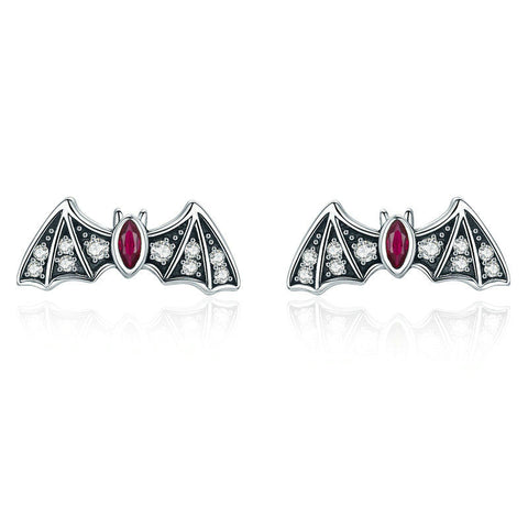 Mysterious Bat Dazzling CZ Stud Earrings