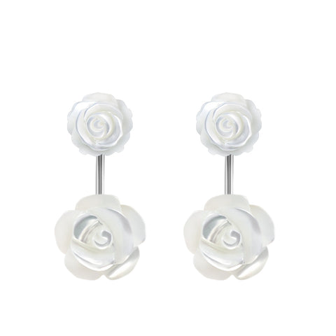 shell rose earrings