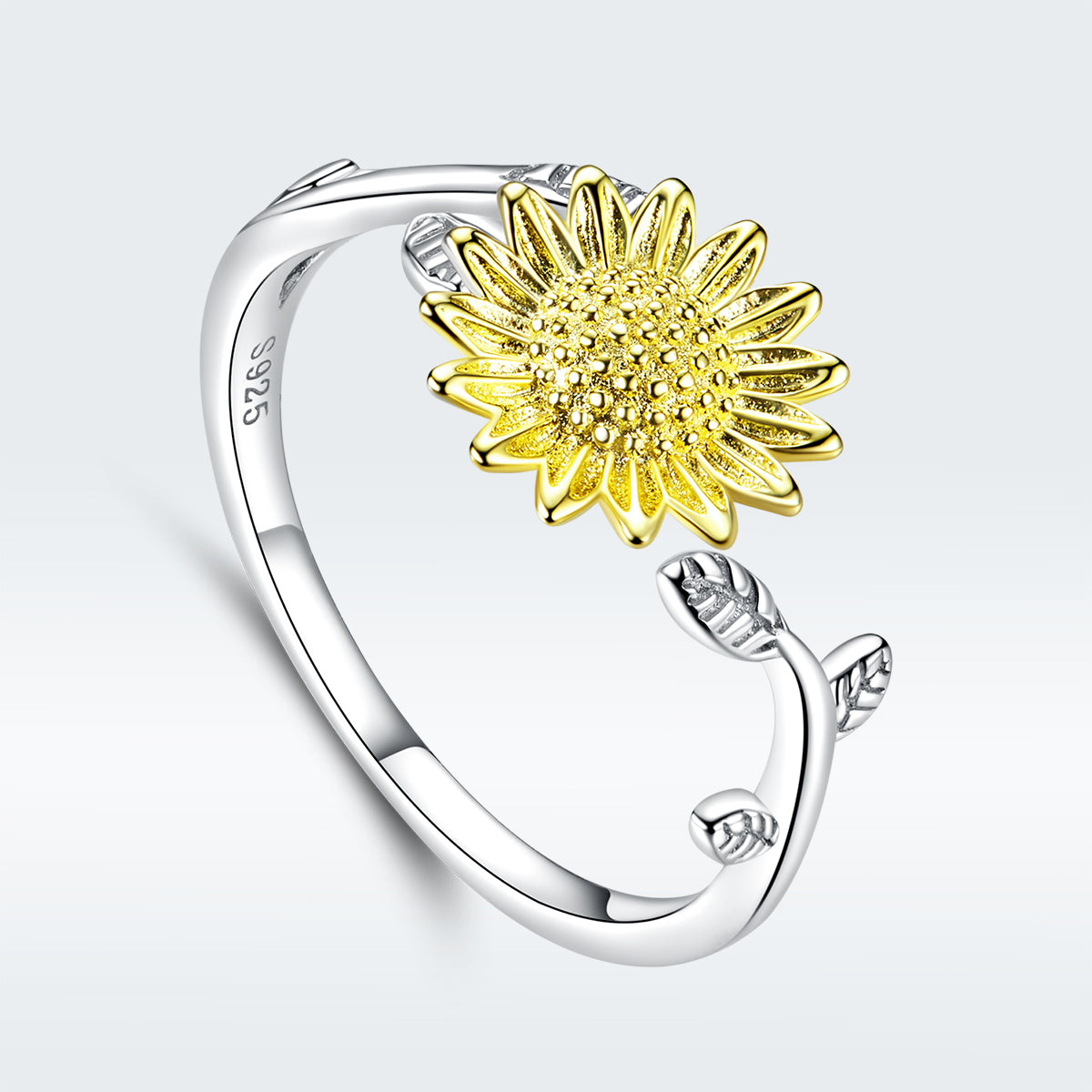 S925 sterling silver sunflower ring color separation plating ring