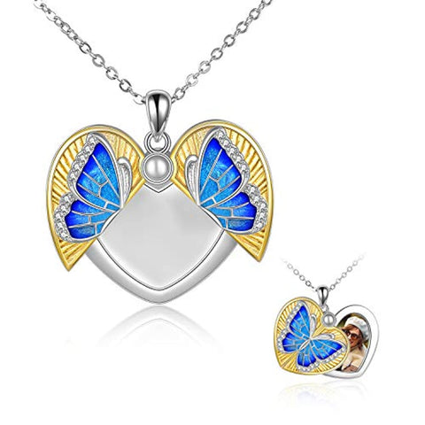 Silver Butterfly Necklace That Holds Pictures Heart Locket Necklace