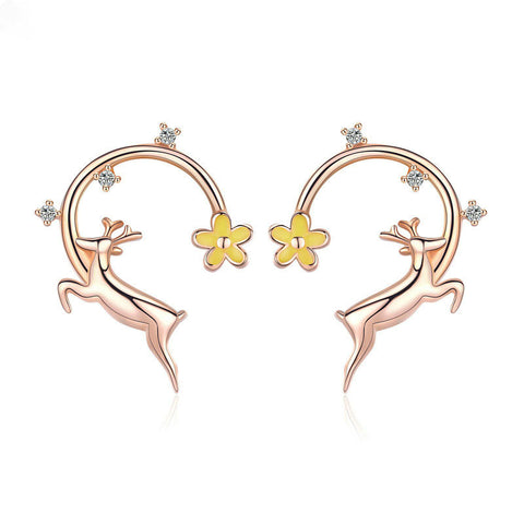 Running Elk Deer Rose Gold Color Stud Earrings