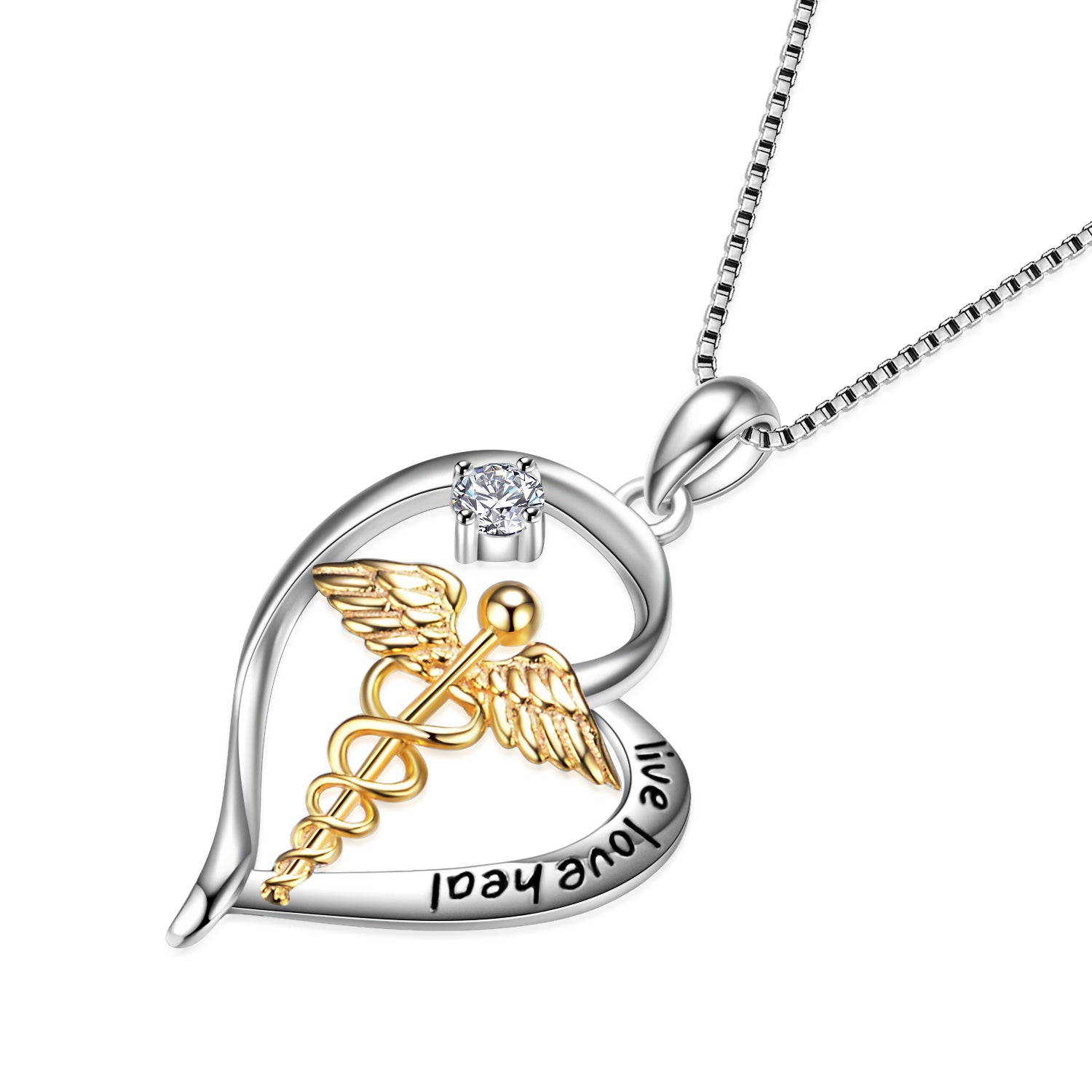 Caduceus Angel Nursing Themed Pendant Live Love Heal Necklace