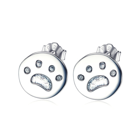 The Puppy Claw Print Stud Earrings 925 Sterling Silver For Wholesale