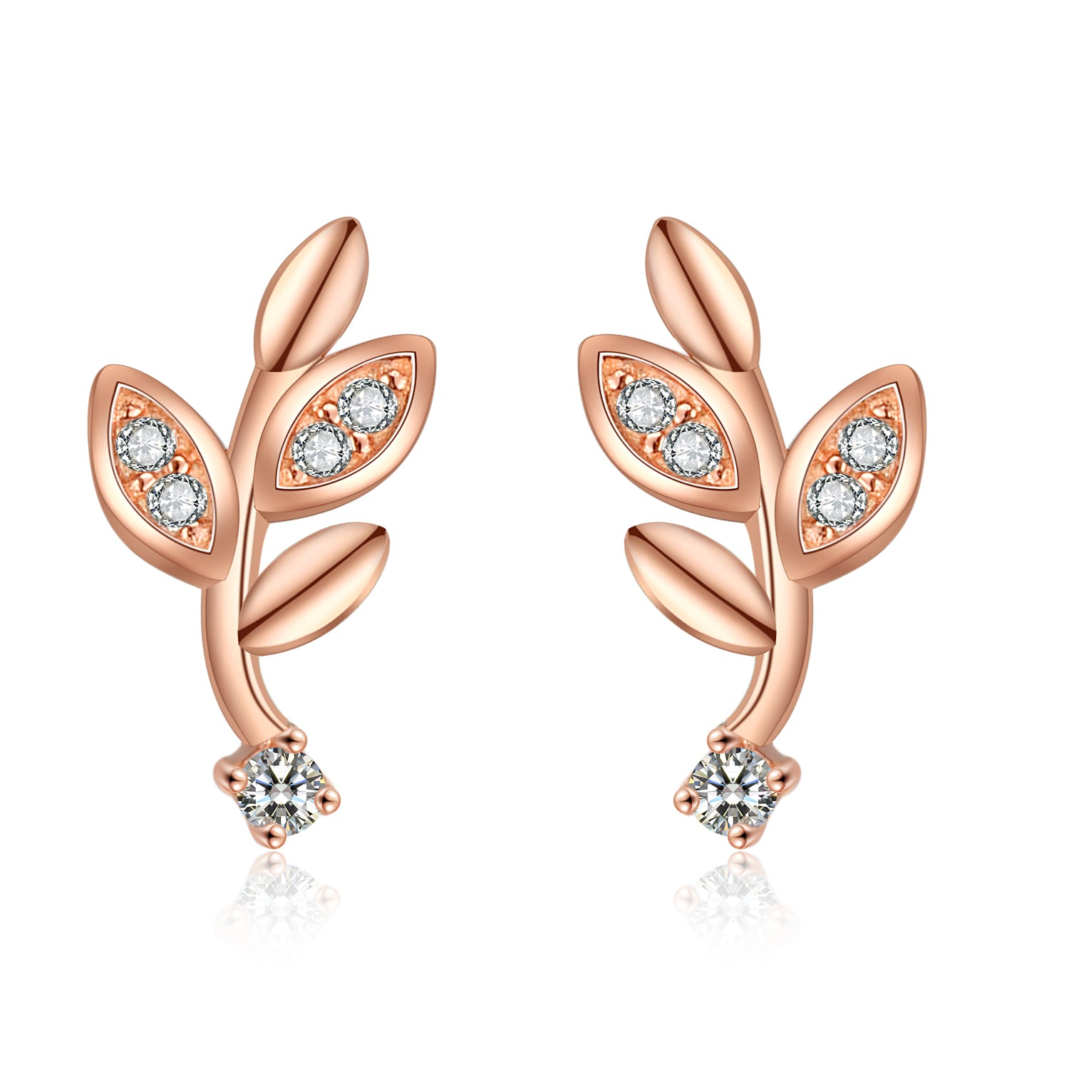 Leaves Custom Earrings Fashion Jewelry Cubic Zirconia Leaves Shape Stud Earrings