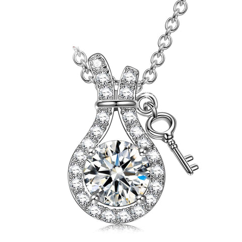 S925 Sterling Silver Creative Full Heart Lock Pendant Necklace Female Jewelry Cross-Border Exclusive