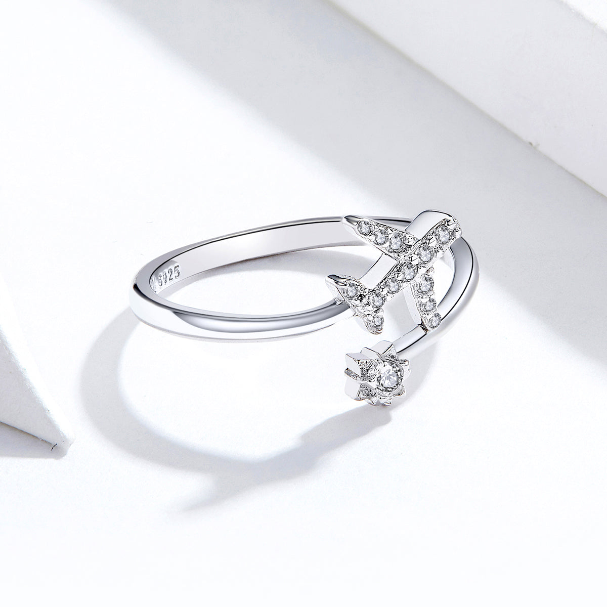 S925 sterling silver distant ring plane shape ring white gold plated zircon ring