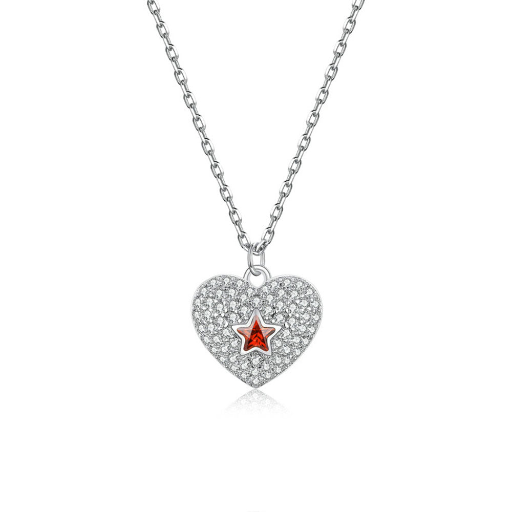 925 Sterling Silver Shining Red Star Heart Pendant Necklace Fashion Jewelry For Women