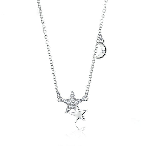 Stars and Moon Link Chain Necklace