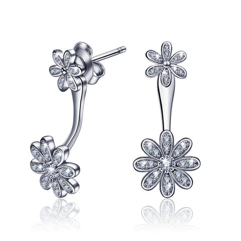 Flower stud hypoallergenic earrings S925 Sterling Silver Stud Earrings Europe and America Creative  Jewelry for Women