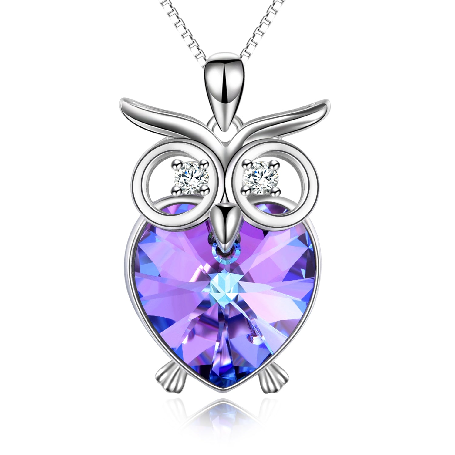 Crystal Owl Necklace Purple Color Gemstone Animal Jewelry Necklace
