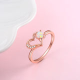 Couple Wedding Loving Heart Zirconia Jewelry Opal Ring Silver Wholesale