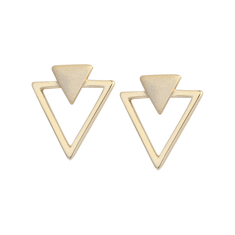 925 Simple Geometric Triangle Gold-Plated Stud Earrings
