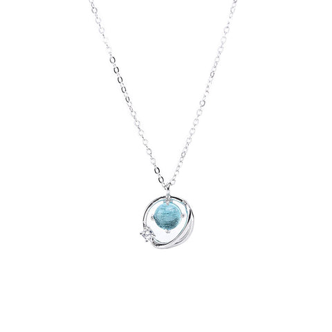 925 Sterling Silver Space Blue Planet Aurora Blue Glass Clavicle Chain
