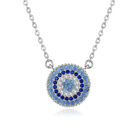Round Birthstone Zircon Eye Collection  Pendant S925 Sterling silver necklace