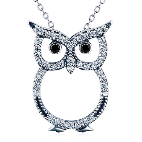 Cute Animal Owl Shaped Necklace Wholesale 925 Sterling Silver Jewelry For Woman And Man