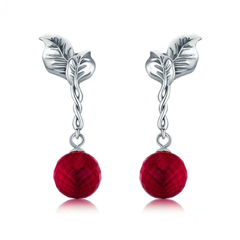 Summer Fruit Red Crystal Drop Earrings