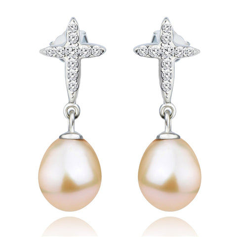 Fancy silver mounting earrings freshwater pearl earring women