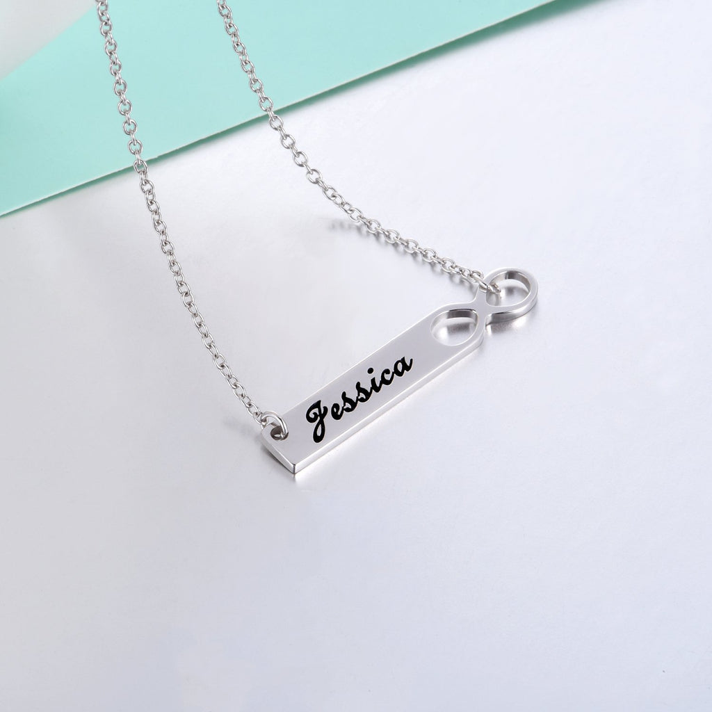 "Infinity 925 Sterling Silver Personalized  Engravable  Bar Necklace-Adjustable 16""-20"""