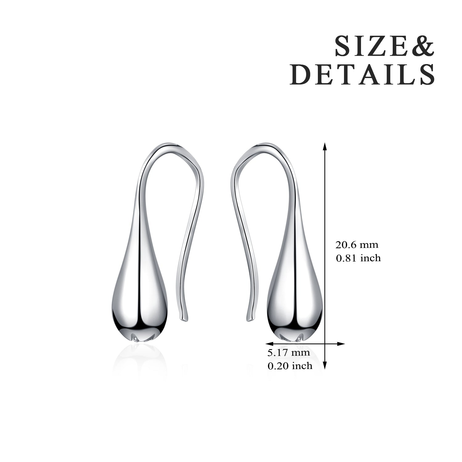 Water Drop Shape Earrings Sleek Silver Ball Design Earrings Girl Gift