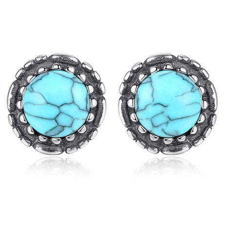 Lab Turquoise Stud Earrings Wholesale 925 Sterling Silver Turquoise Jewelry